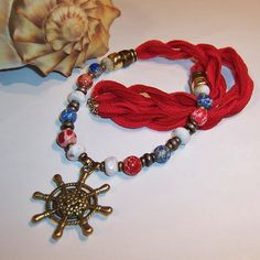 Gemstone & Ships Wheel Nautical Necklace from ruthsredemptions on Ruby Lane