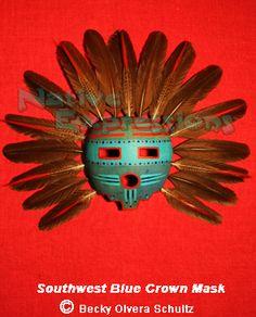 Southwest Blue Crown Gourd Zia Mask, © Becky Olvera Schultz