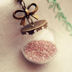 inspiration to make Christmas ornaments like this using Martha Stewart Glitter!  | Glass Globe Necklace with Pink German Glass by DearDelilahHandmade