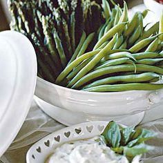 steamed asparagus & green beans with lemon basil dip
