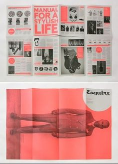 10 Inspirational Folded Flyer Designs - looks like the 'Esquire' bit would be the front title - nice integration into a bigger poster on the back. Flugblatt Design, Buch Design, Flyer Design, Layout Design, Print Design, Wordpress Theme, Corporate Event Design, Flyer Printing, Card Printing