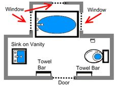 Visual Guide to 15 Bathroom Floor Plans: Great Bathroom Plan for a Bump-Out Window Area