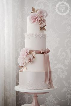 Beautiful pale pink wedding cake is so beautiful.