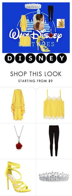 """""""belle"""" by nymph337 on Polyvore featuring Disney, Judy Wu, Violeta by Mango, Bling Jewelry, WearAll and Steve Madden"""