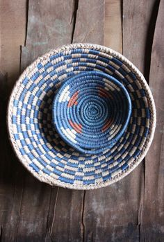 Vintage 70's small and medium Hand Woven African Baskets