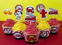Themed cupcakes at a firefighter birthday party! See more party ideas at CatchMyParty.com!