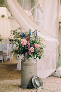 Milk Urn Flowers Peonies Relaxed Pretty Garden Marquee Wedding www. Farm Wedding, Rustic Wedding, Boho Wedding, Garden Marquee, Marquee Wedding, Wedding Marquee Decoration, Diy Marquee Decorations, Wedding Ceremony, Garden Wedding Decorations