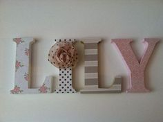 tan pink white nursery | Wooden letters for nursery in pink tan black - I ... | DIY Craft Ide ...