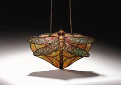 A TIFFANY STUDIOS 'DRAGONFLY' LEADED GLASS LAMP PENDANT.