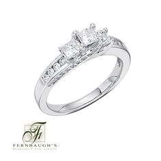 14K White Gold Three Stone Anniversary Ring available in 1/2 or 1 carat total weight (24E)