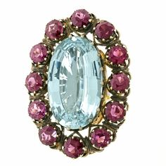 Alchemy Collection Stunning Garnet Aquamarine Bohemian Ring | See more rare vintage Cocktail Rings at https://www.1stdibs.com/jewelry/rings/cocktail-rings