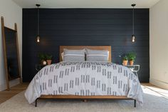 House bedroom shiplap accent wall bedroom, wood bedroom wall, home bedroom, Home Bedroom, Bedroom Decor, Master Bedrooms, Bedding Decor, Wall Decor, Decor Pillows, Black Accent Walls, Black Walls, Black Accents
