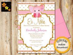 Spanish Baby Shower Invitation Pink And Gold Elephant Invitaciones Invites