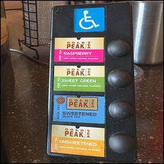 Handicapped Tea Dispenser By Gold Peak Brand – Fixtures Close Up Visual Merchandising, Tea, Gold, Teas, Tees, Yellow