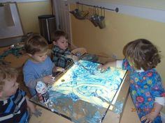 "Shaving cream & paint on the light table - Parker River Community Preschool ("",)"