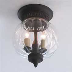 "Melon Glass Flush Ceiling Lantern  2 x 40 watt lights  0.75""H x 7""W  5.5"" canopy  $199  Shades of Light"