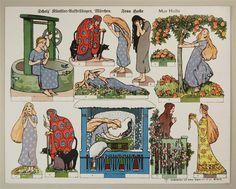Scholz` Künstler=Aufstellbogen, Märchen. Frau Holle. Aufstellbilder auf dickem Papier (33x43 cm) No. 61 K.