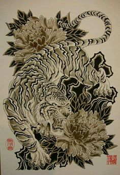 I really like this one- the position of the animal and the flowers but with a bl. Tiger Tattoo Sleeve, Lion Tattoo, Arm Tattoo, Body Art Tattoos, Sleeve Tattoos, Japanese Tiger Tattoo, Japanese Dragon Tattoos, Tiger Tattoo Design, Tattoo Designs