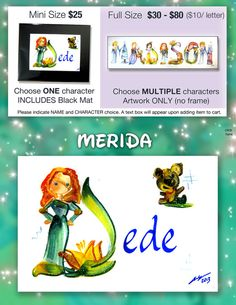 Hey, I found this really awesome Etsy listing at https://www.etsy.com/listing/205017702/merida-name-painting-disney-name-art