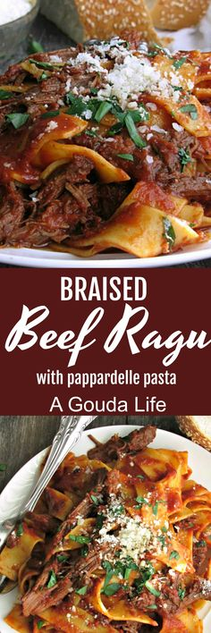 Braised Beef Ragu ~ slow cooked tender shredded beef in a robust tomato sauce over pappardelle pasta. Delicious Sunday Supper comfort meal.