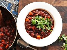 SWEET POTATO & TWO BEAN CHILI w/ HOMINY - lots of great chili tips in the recipe as well