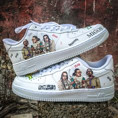 """Custom sneakers Nike Air Force 1 """"Migos"""" by Customizzato on Etsy mens womens Blue Sneakers, Casual Sneakers, Sneakers Fashion, Sneakers Nike, Jordan Sneakers, Air Force Jordans, Nike Shoes Air Force, Custom Sneakers, Custom Shoes"""