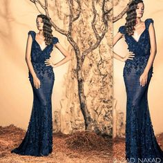 Ziad Nakad Evening Dresses Navy Blue Tulle Appliques Hand Made Flowers Cap Sleeves Sheath Sexy V Neck Prom Party Gowns Classic Couture Dress Evening Dresses With Sleeves Uk Evening Lace Dresses From Firstladybridals, $113.2| Dhgate.Com