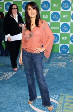 Salma Hayek Jeans Boho Top 2005