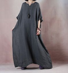 Two pieces of linen dress Big Dresses, Linen Dresses, Casual Dresses, Abaya Fashion, Denim Fashion, Womens Fashion, Caftan Dress, Hijab Chic, Blouse Patterns