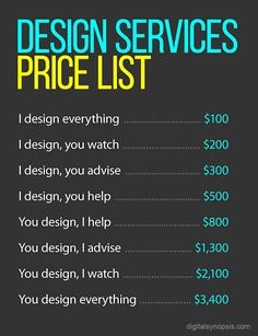 "How To Charge Clients For Design Work - ""Please just let me do my job"" is a phrase that is often considered but rarely spoken in any profession that deals with clients. This humorous price-list reflects numerically what every graphic designer thinks when a client ""wants to help"" with a project. Do you agree?"