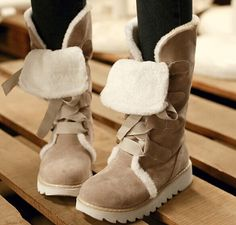 Lace-Up Platform Mid-Calf Snow Boots
