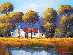beautiful oil paintings of south african farms Abstract Landscape, Landscape Paintings, Acrylic Paintings, South African Artists, Cottage Art, Art Images, Canvas Art, Art Gallery, Nature