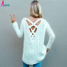 Gagaopt Autumn Criss Cross Top Backless Knitted Sweater Deep V neck Women Oversized Winter Knitwear Loose Jumpers White Pullover-in Pullovers from Women's Clothing & Accessories on Aliexpress.com | Alibaba Group
