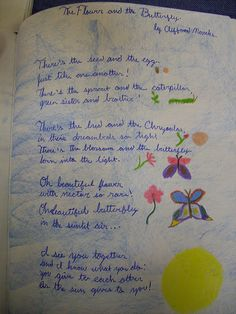 Waldorf ~ 5th grade ~ Botany ~ Poem ~ The Flower and The Butterfly ~ main lesson book