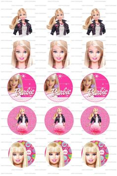 INSTANT DOWNLOAD Barbie Bottle Cap 4x6 Collage by PartyPotpourri, $1.50