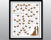 Wedding Guest Book Alternative Butterflies - 16x20 Custom Printable Poster - From 50 to 100 guests signature butterflies