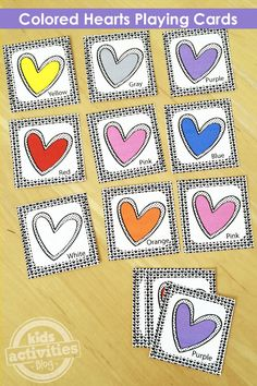 These free printable colored hearts playing cards are perfect for learning colors while playing a variety of fun card games.