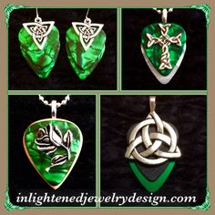 Celtic Guitar Pick Jewelry - Triangle Knot earrings $21, Green and White Celtic cross $21, Green Black Metallic Celtic Knot $26, Green Wooden Rose with Crystal $26 - Purchase thru website!