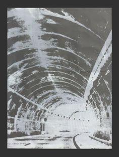 TUNEL Serigrafia en un color sobre papel plastico reutilizado (Batalla) 50x70 Pieza unica.