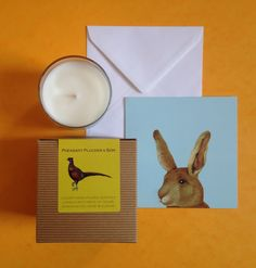 Ou slight spicy Wildwood candle with notes of rose, sandalwood and cedar reminding us of hot summer afternoons. And our best-selling irresistible Rabbit card.