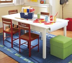 Kids Craft Table With Paper Roll. From Pottery Barn $239. DIY? Love The