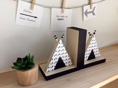 TeePee Bookends Tribal Decor Aztec Kids Decor by MapleShadeKids