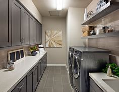 Contemporary Laundry Room with Canyon Creek Shaker Cabinets - Sherwin Williams Cityscape, Undermount sink, flush light Grey Laundry Rooms, Mudroom Laundry Room, Laundry Room Design, Kitchen Design, Mud Rooms, Kitchen Ideas, Kitchen Decor, Home Channel, Bookshelves Built In
