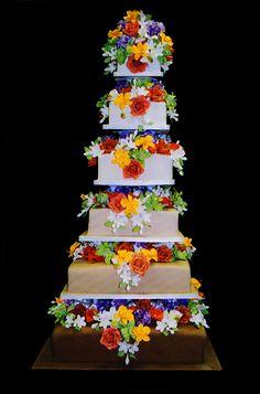 Taupe Tower with Bright Flowers  Ana Paz Cakes - Miami, Florida