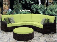 South Sea Rattan Saint Tropez Wicker Sectional Cushion Lounge Set