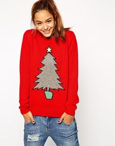 Enlarge ASOS Holidays Sweater With Tinsel Tree
