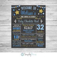 Twinkle Little Star Baby Shower Chalkboard Printable Sign - Baby Girl Baby Shower Sign, Pregnancy Poster, Baby Shower Decor, Twinkle Star