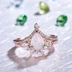Fire Opal Engagement Ring, Engagement Ring Settings, Vintage Engagement Rings, Engagement Jewellery, Opal Wedding Ring Set, Wedding Rings, His And Hers Rings, Moissanite Bridal Sets