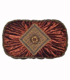 Bronze And Brick Velvet Oval Accent Pillow 18x13