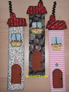 Italian houses bookmark Cute Crafts, Diy Crafts To Sell, Felt Crafts, Crafts For Kids, Paper Crafts, Quilting Projects, Craft Projects, Sewing Projects, Projects To Try